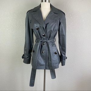 Worth Small Metallic Silver Gray Belted Jacket